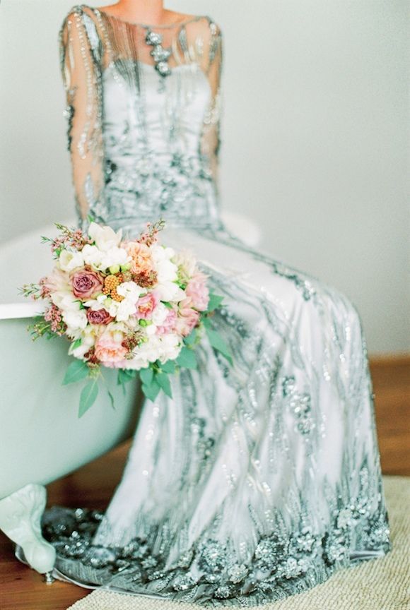 Custom Embellished Wedding Dress for a Vintage Real Wedding   www ...
