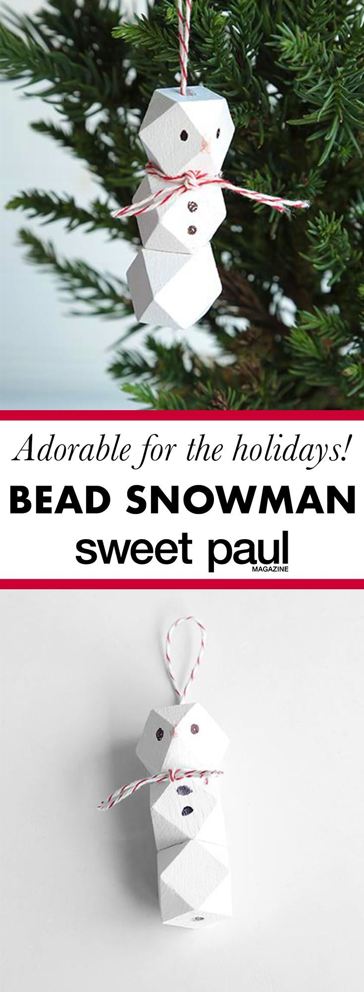 Wooden Bead Snowman Ornament Sweet Paul Magazine Crafts With Pictures Diy Christmas Tree Creative Christmas