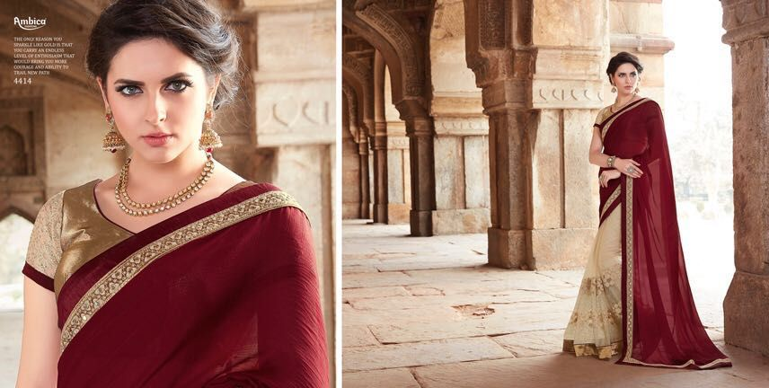 Maroon net and georgette with embroidery work party wear saree