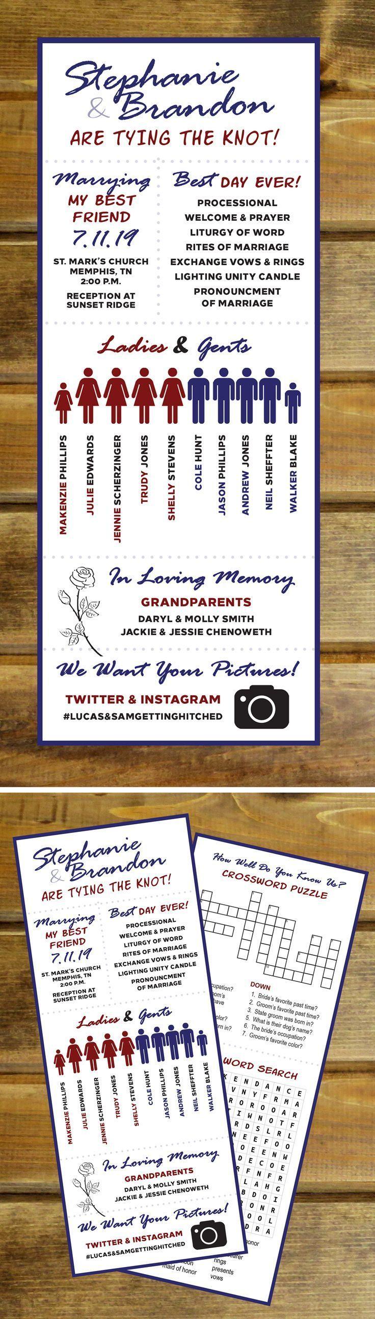 Fun Modern Infographic Wedding Program With Crossword Puzzle Etsy Wedding Infographic Modern Wedding Program Wedding Programs