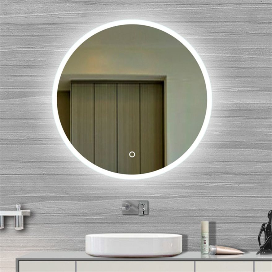 Miroir salle d\'eau avec éclairage rond touche sensif | toilet ...