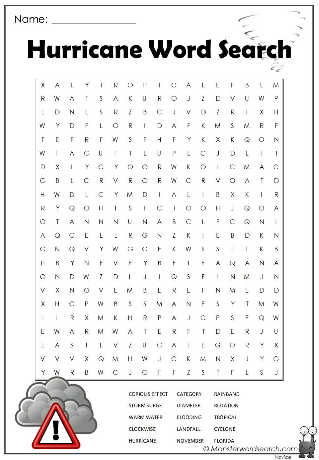 Hurricane Word Search In