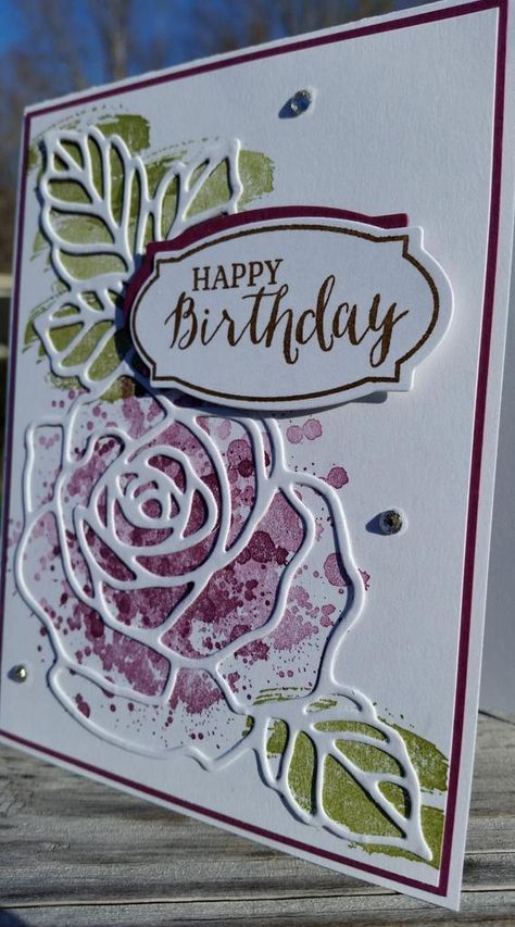 Handmade Birthday Card, STAMPIN' UP! Rose Wonder #stampinup!cards