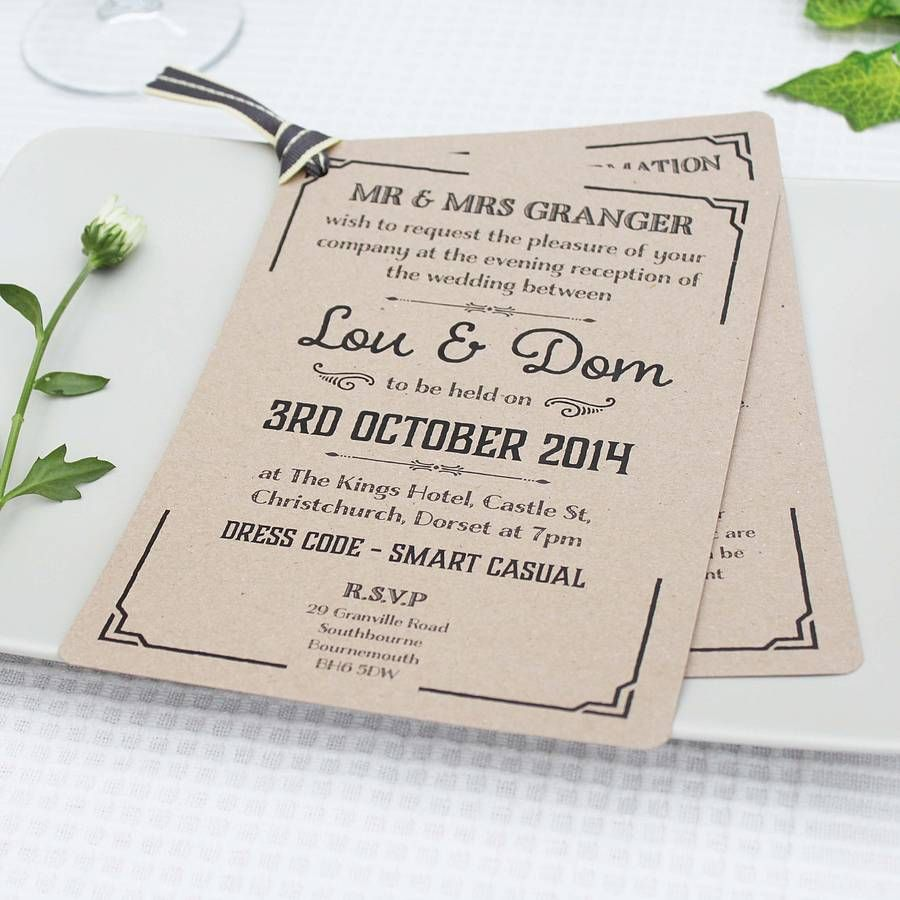 Gatsby Style Wedding Evening Invitation