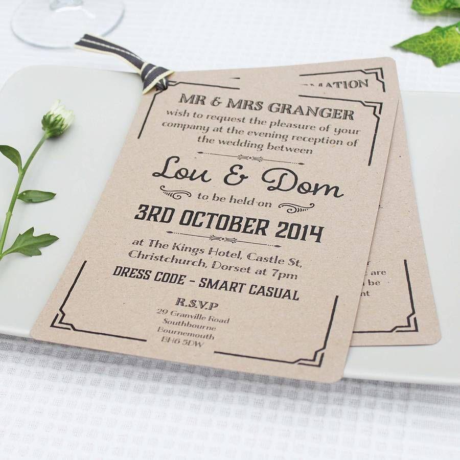 Gatsby Style Wedding Evening Invitation | Gatsby style weddings ...