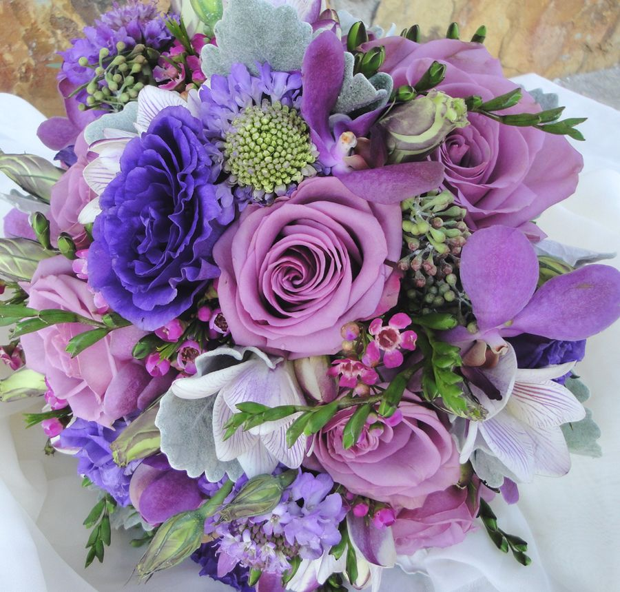 Cool Weather Wedding Flowers: Hand Tied Bouquet ....mixed Spring To Include Cool Water