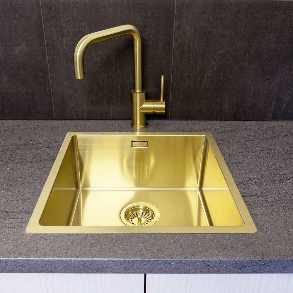 Pleasing Reginox Miami 40 X 40 Stainless Steel Gold Coloured Sink Interior Design Ideas Apansoteloinfo
