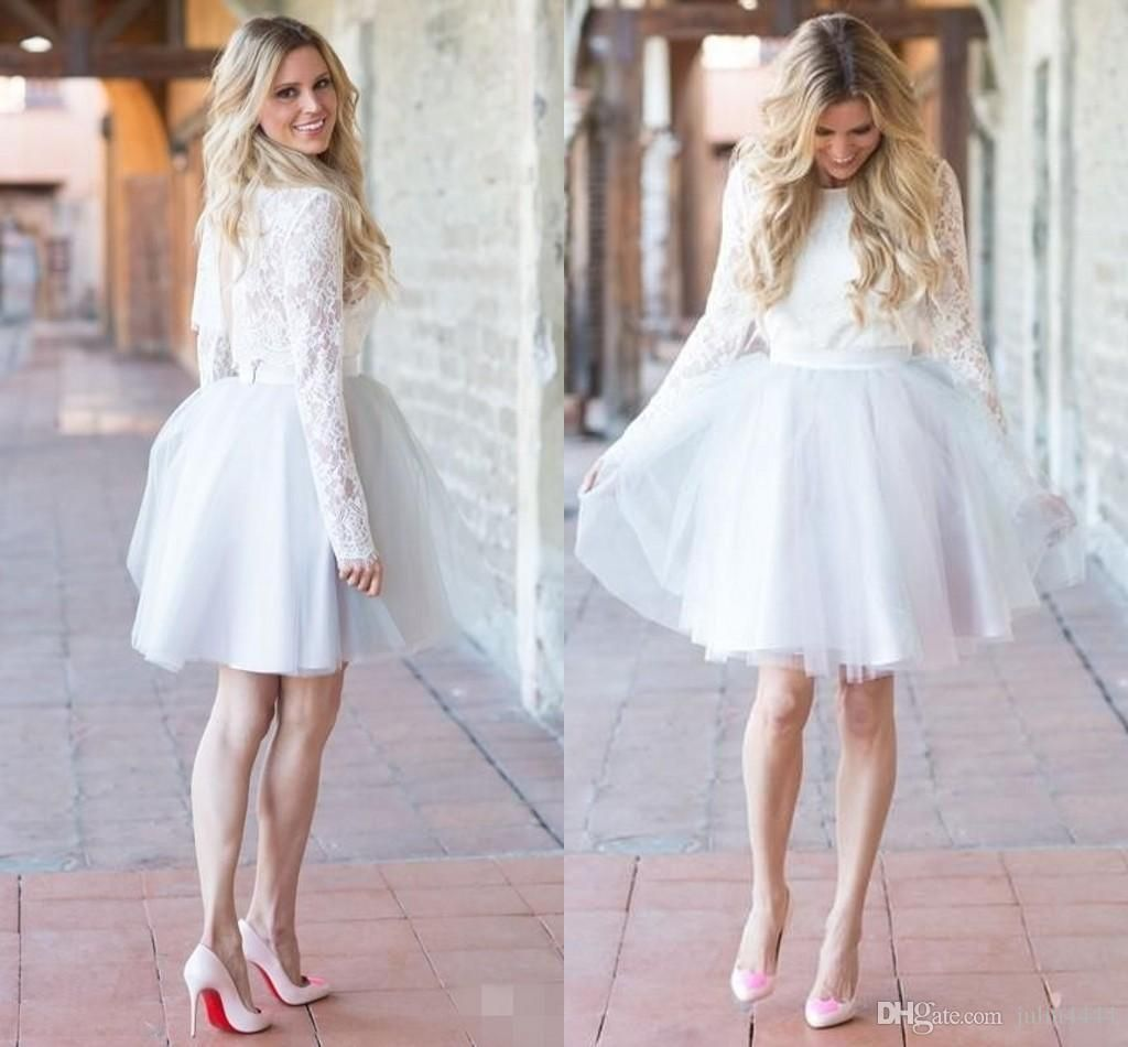 Awesome great simple white lace beach short wedding dresses bridal