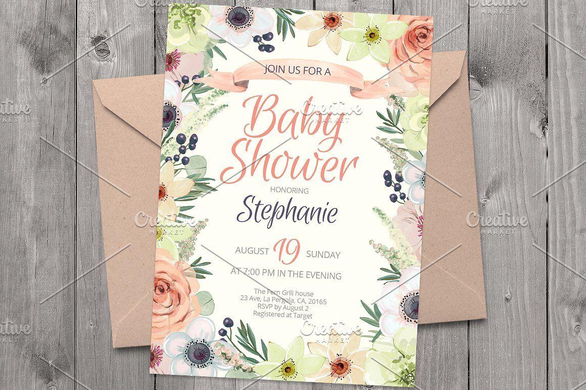 bridal shower invitations vector free%0A Floral invitation PSD template   AP  Invitations  affiliate