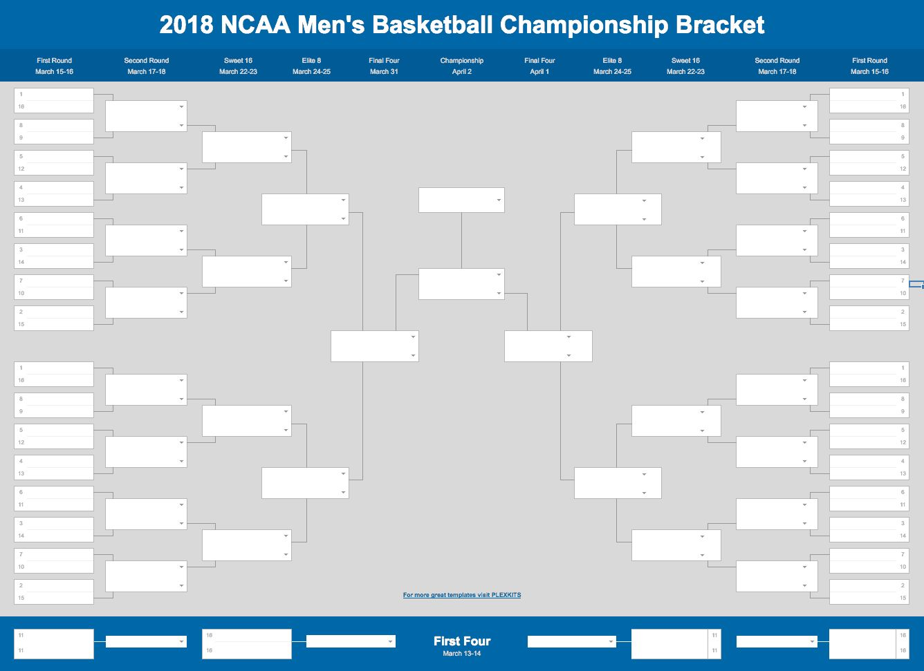 2019 March Madness Bracket Excel And Google Sheets Template With Regard To Blank March Madness Bracket Templ March Madness Bracket March Madness Ncaa Bracket