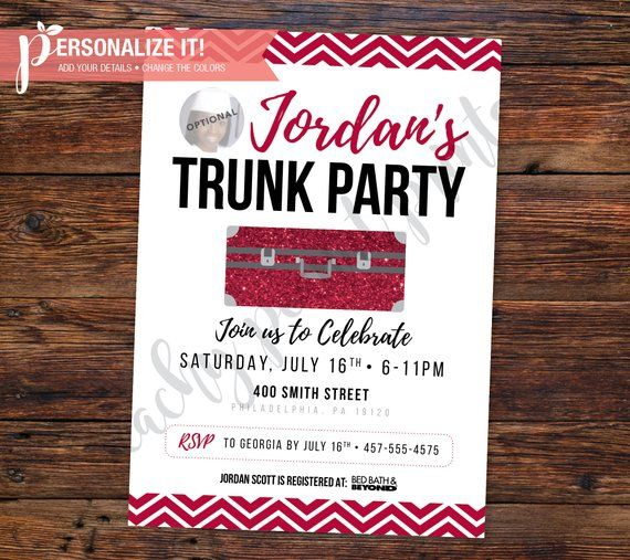Trunk Party Invitation Going Away College High School Graduation Template Personalized Printable