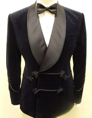 Double breasted and frogged smoking jacket with silk shawl-collar.   SmokingJacket 1b0c87d6749