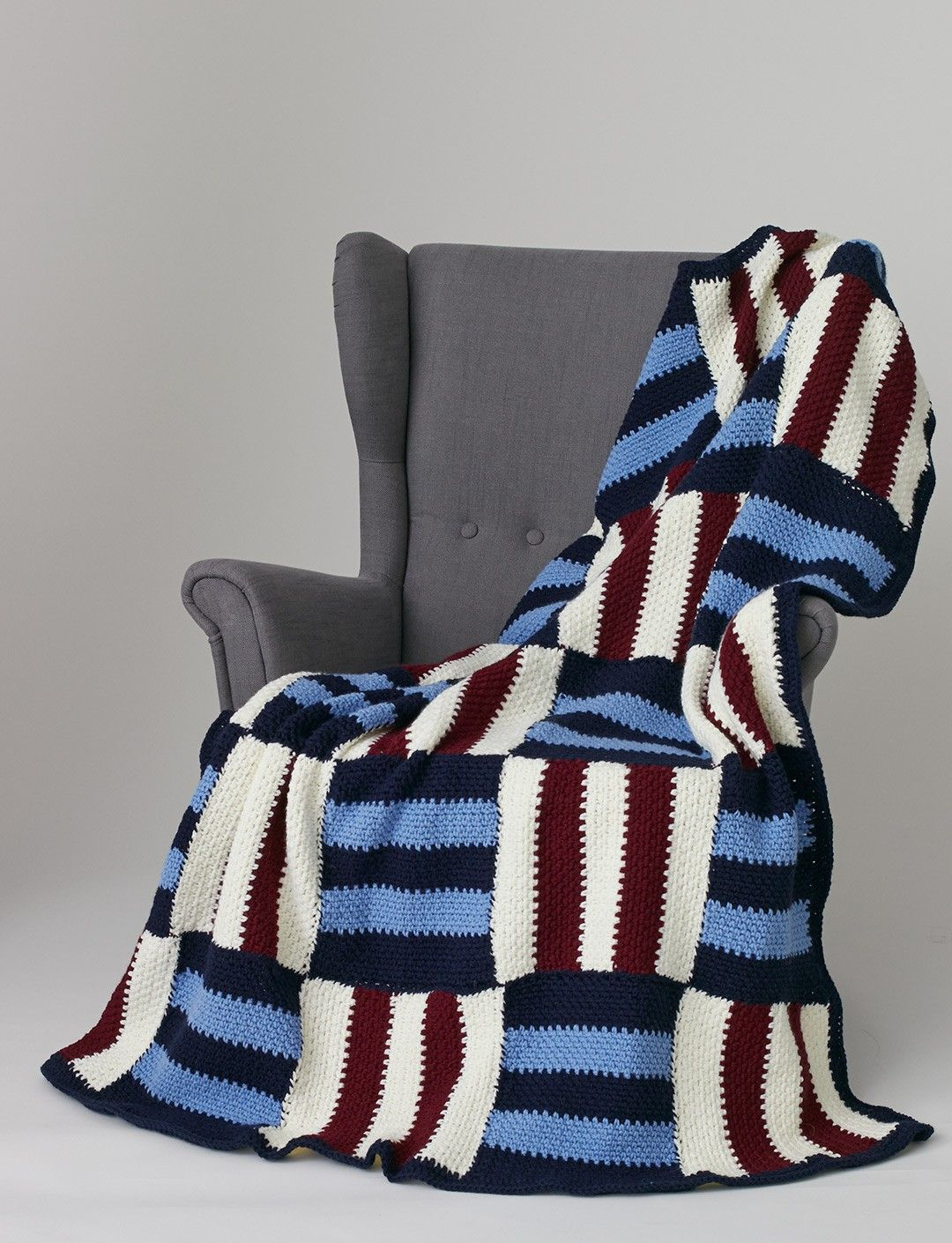 Yarnspirations.com - Caron Striped Parquet Afghan - Patterns ...