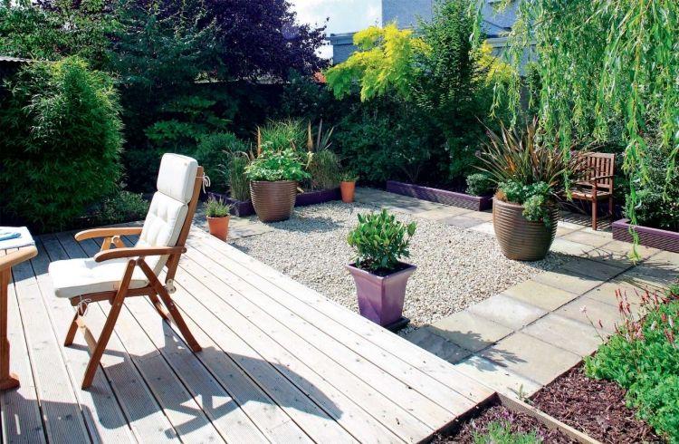 Gartengestaltung Kleine Garten Rasen Holz Terrasse Pflanzkuebel