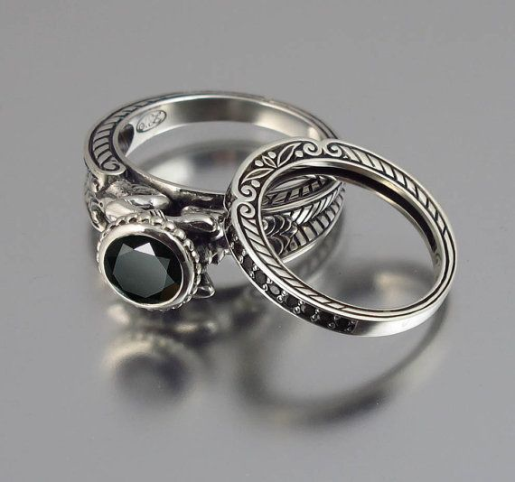 CARYATID silver ring & band set with Black Spinel
