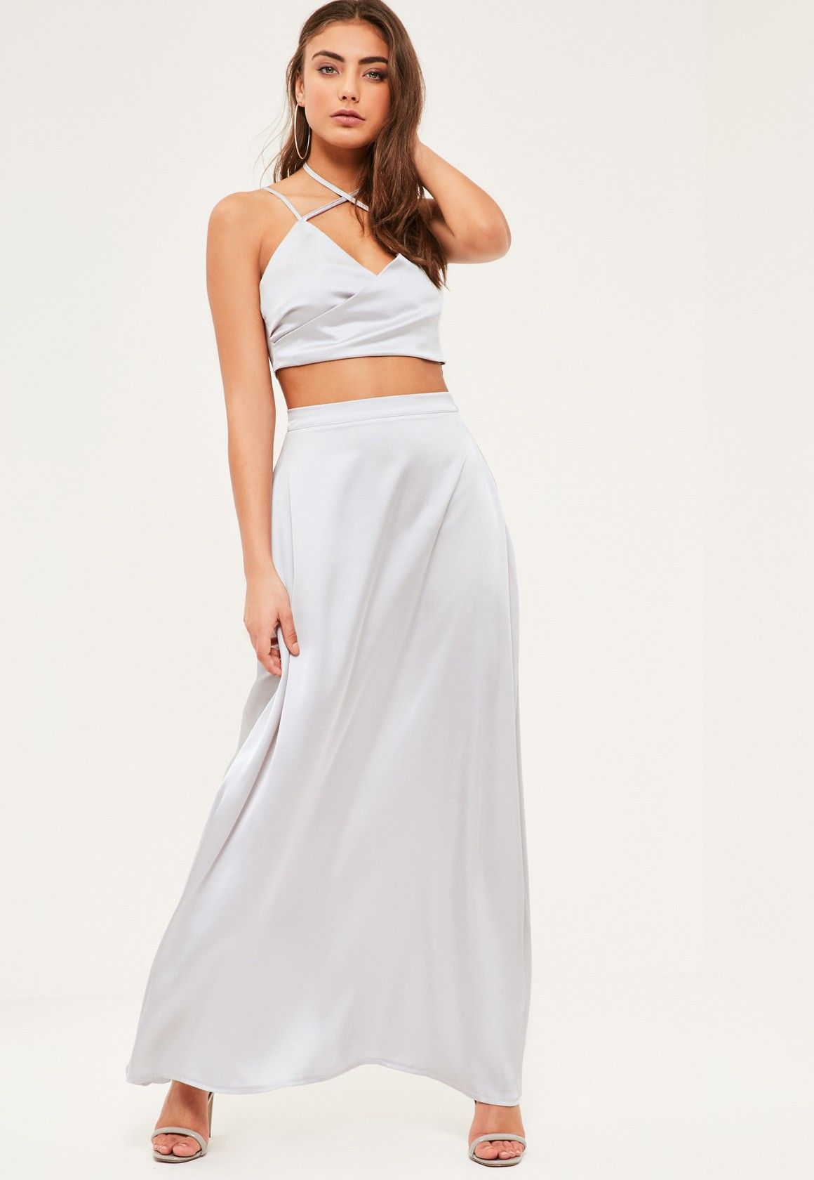 Missguided petite exclusive grey satin maxi skirt spring ball