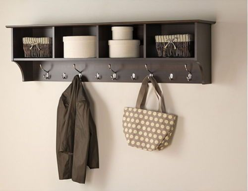 Wide Hanging Entryway Shelf With Four Cubbies Five Double Hooks Espresso Finish With Images Hanging Entryway Shelf Entryway Wall Shelf Entryway Shelf