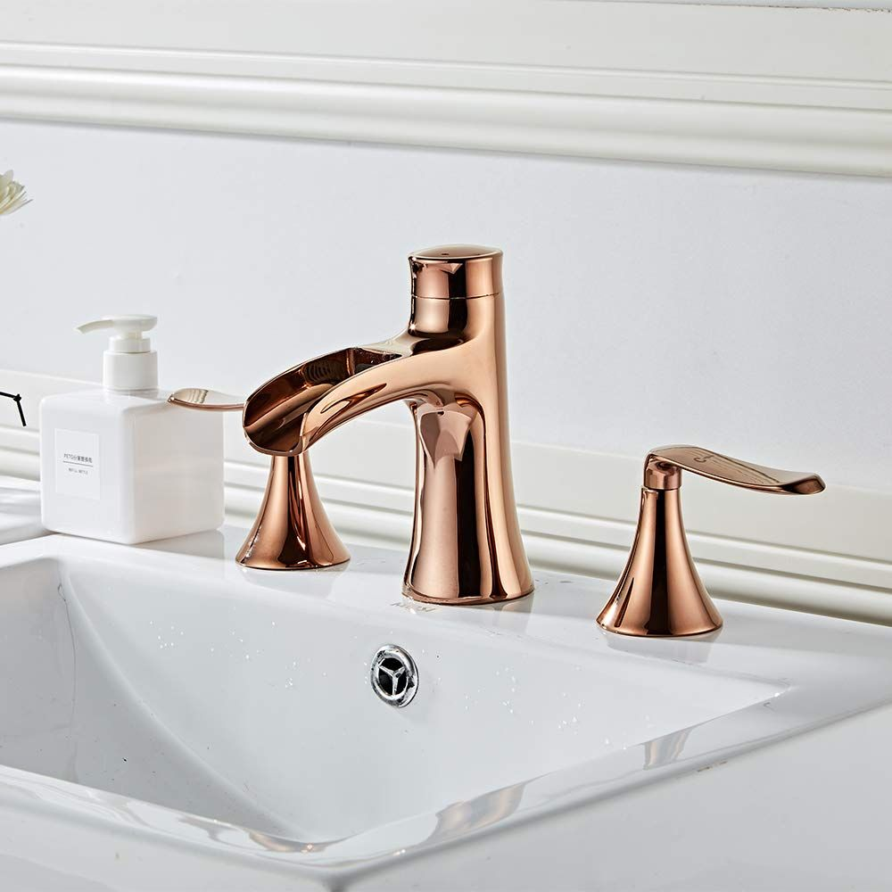 Wovier Waterfall Bathroom Sink Faucet Two Handle Three Hole Vessel