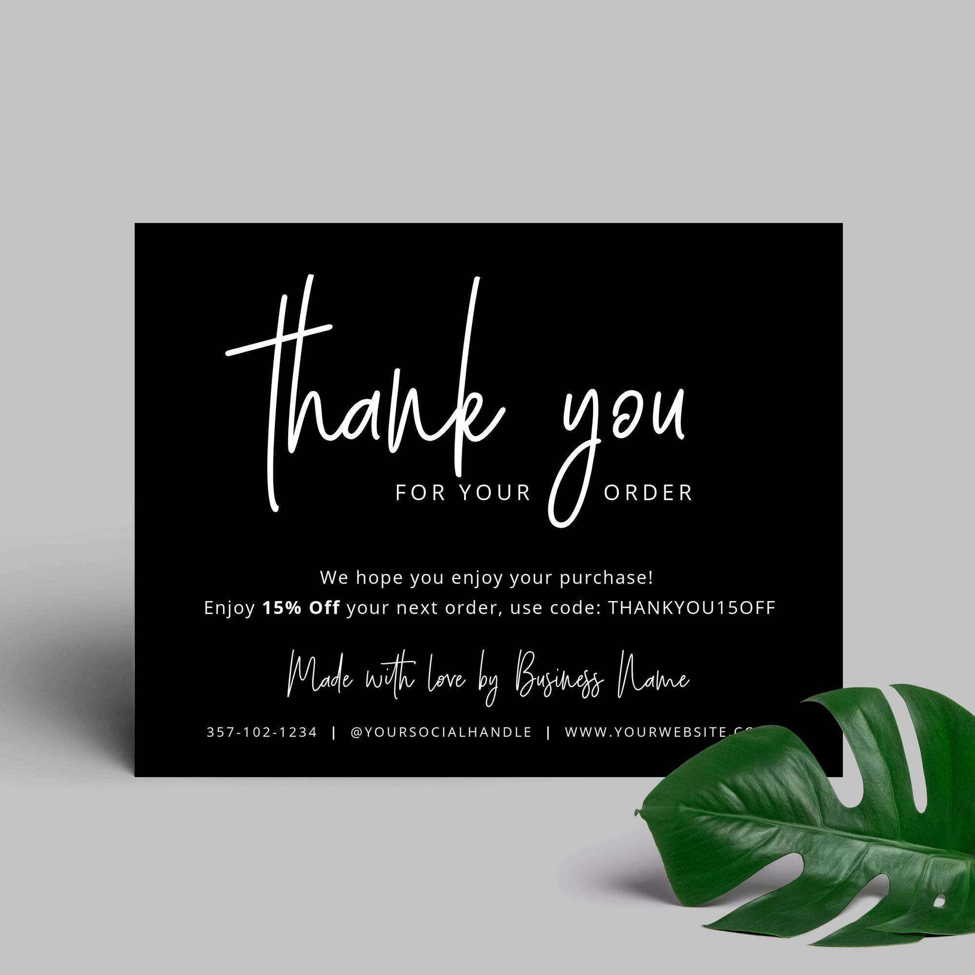 Thank You For Purchase Card Printable Customer Thank You Card Corjl Kartu Nama Bisnis Kartu Nama Kartu