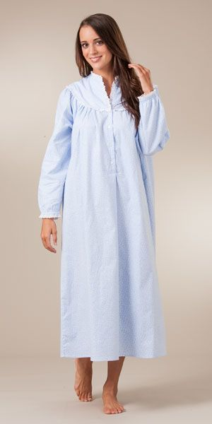 62e7205181 Lanz Cotton Flannel V-Neck Ballet Nightgown - Alpine Floral ...