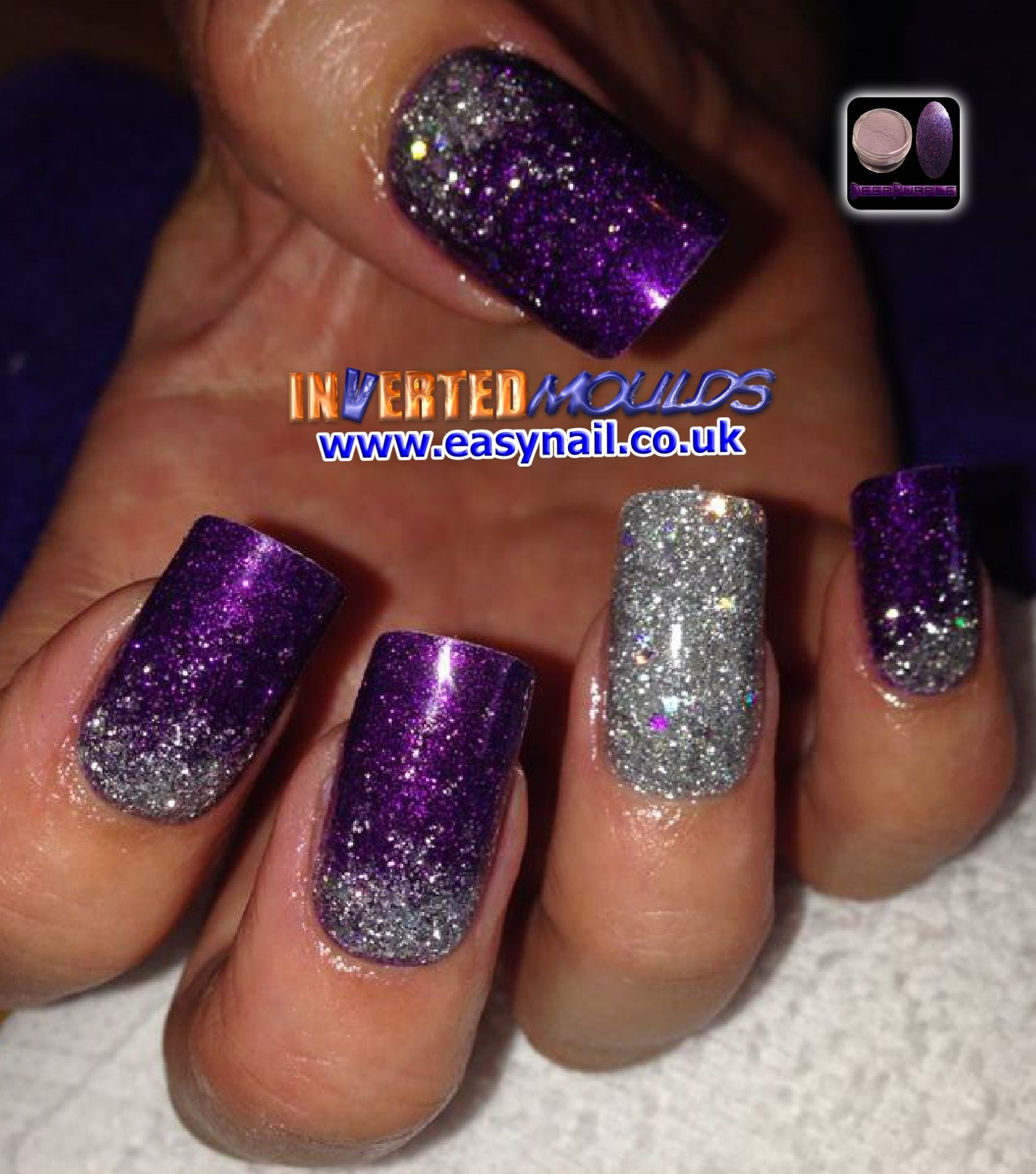 our deep purple acrylic with silver glitter fadeslaura denton