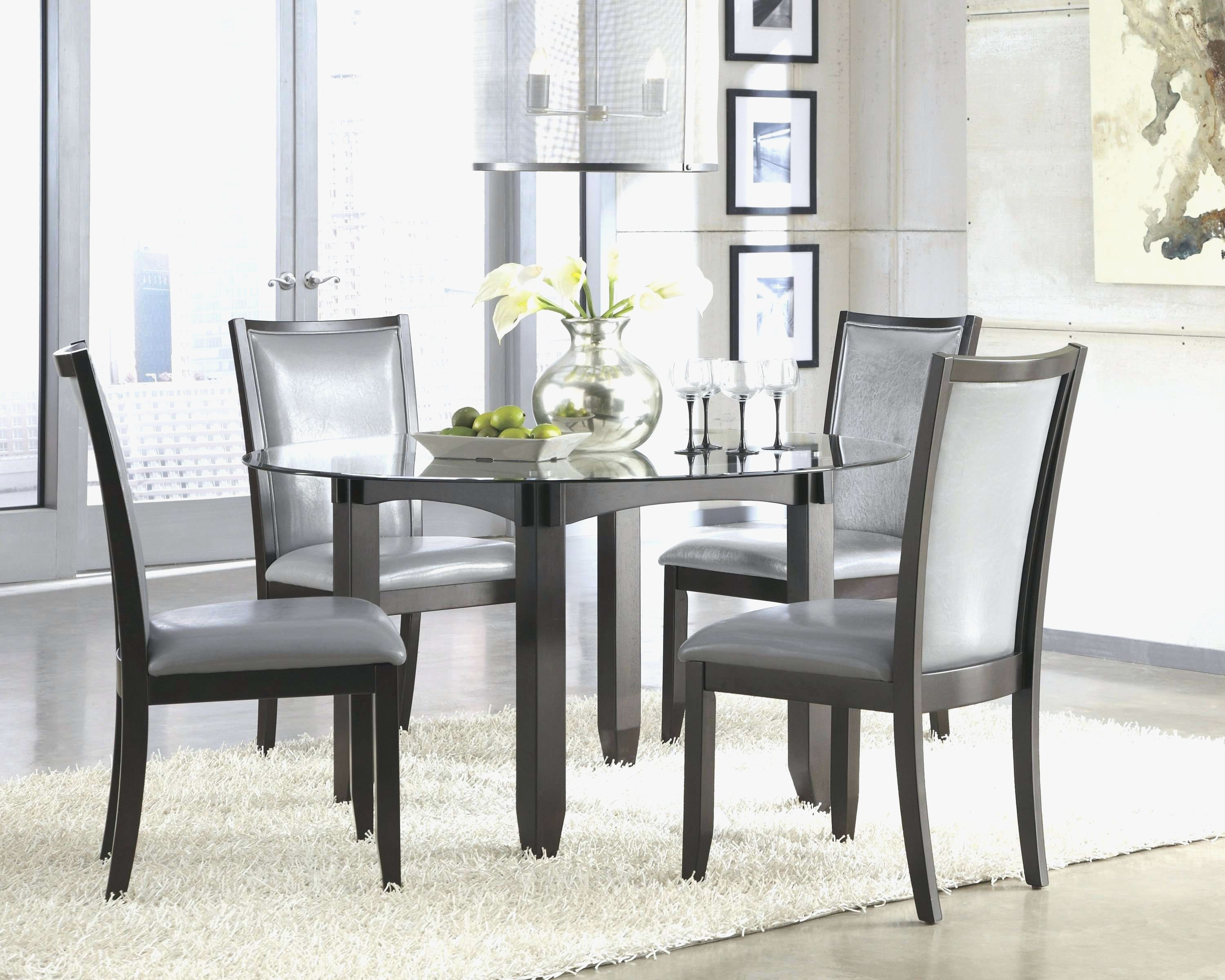 Modern Round Glass Dining Table Set Grey Dining Tables Glass