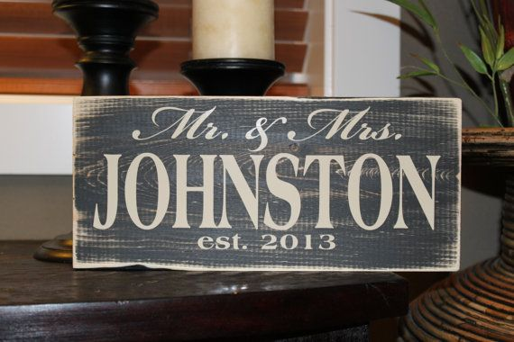 Personalized Mr & Mrs Wedding Sign Established Year By