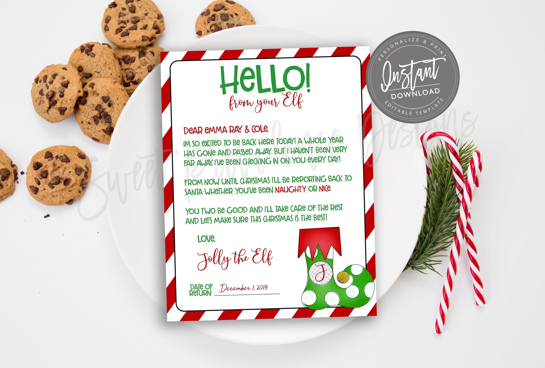 EDITABLE Elf Goodbye Letter, Elf Arrival Note, Santa