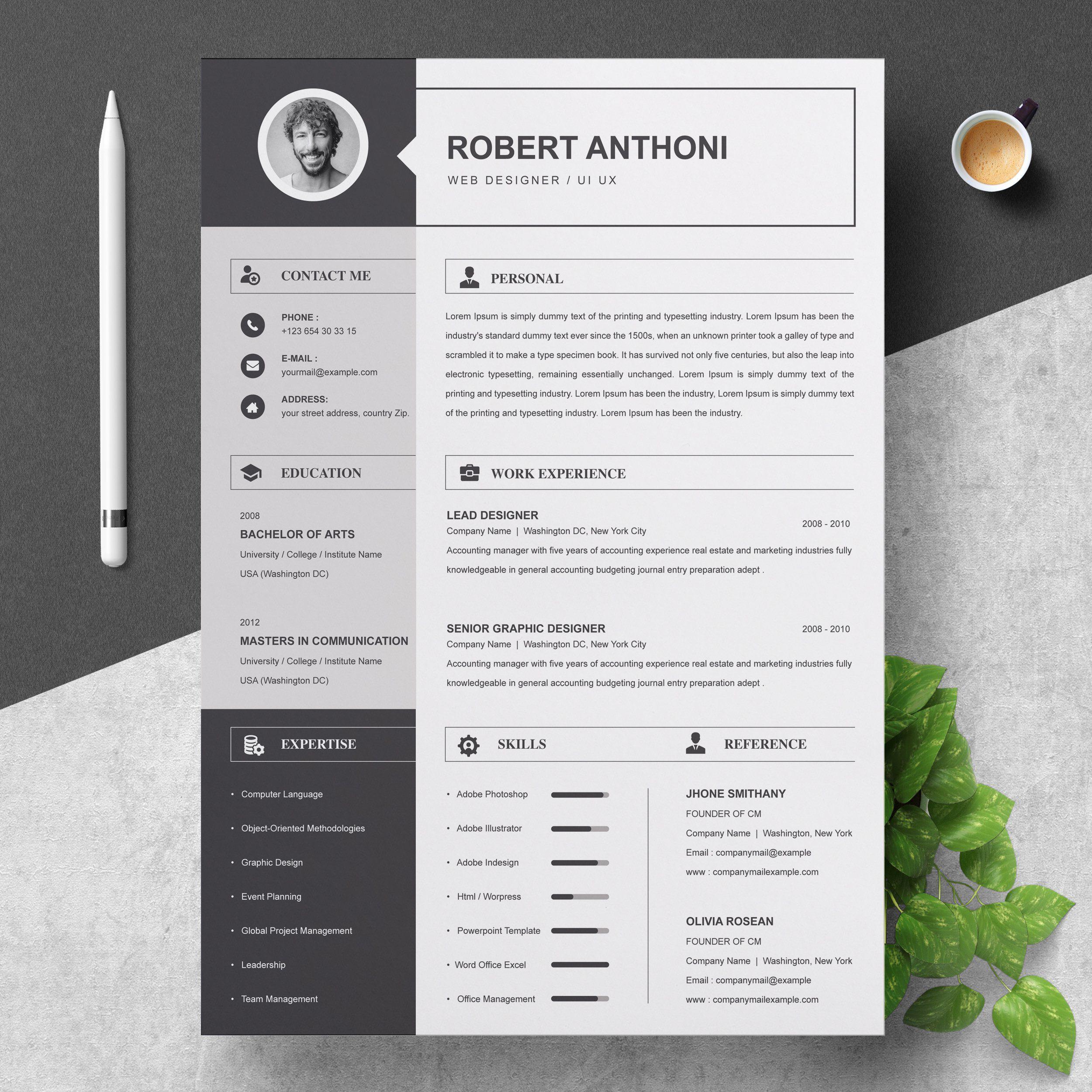 2 pages resume template cv design cv design marketing