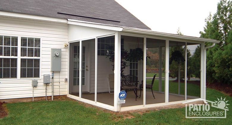 White Aluminum Frame Screen Room With Single Slope Roof Patio