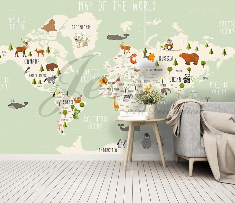 3d Nursery Kids Room Animal World Map Removable Wallpaper Etsy Kids Room Wall Stickers Kids Wall Decals Wall Stickers Kids