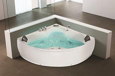 Details zu Designer Whirlpool Eck Badewanne mit Massage + LED Hot ...