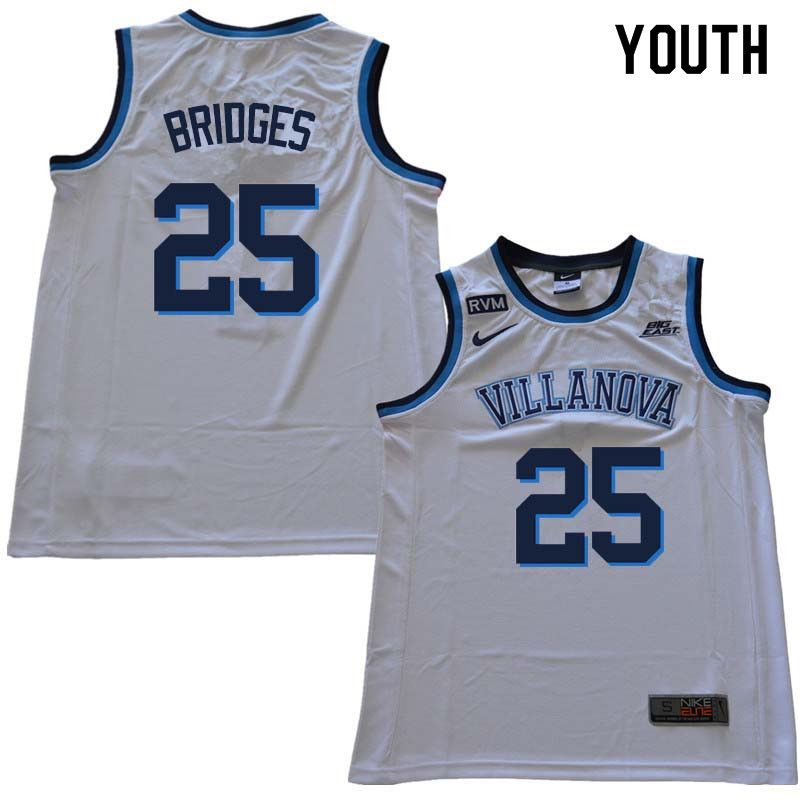 acca35072 2018 Youth  25 Mikal Bridges Willanova Wildcats College Basketball Jerseys  Sale-White