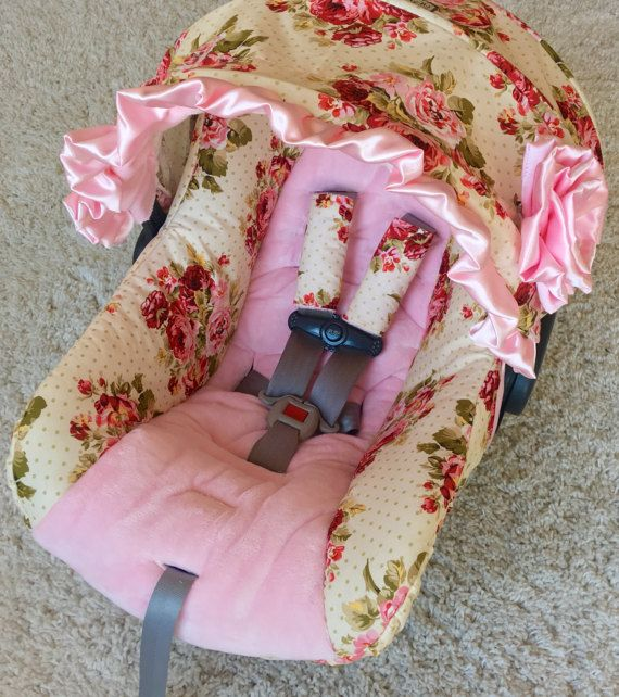 Rambling Roses And Baby Pink Custom Infant Car Seat Covers Girl Replacement This Cover Will Replace Your Existing