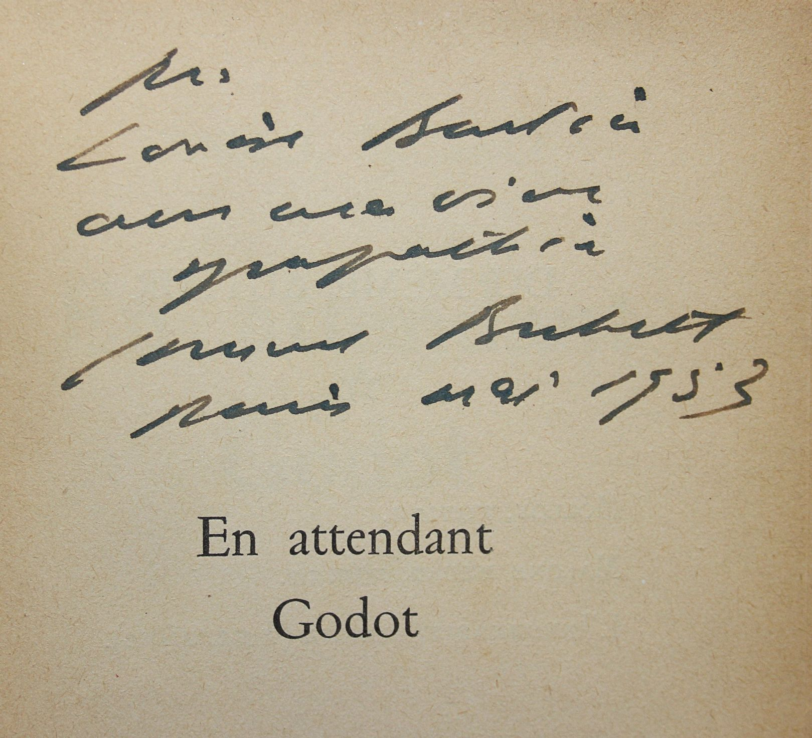 Samuel Beckett - En attendant Godot. Envoi autographe signé.