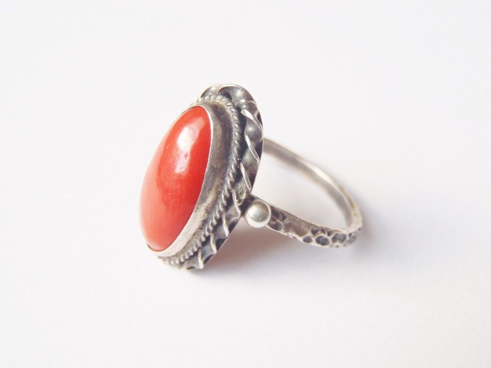Vintage Deep Red Coral and .800 Silver Ring Size 9 Bezel Set Ox Blood Cabochon Handmade Twisted Wire Silver Raindrops Narrow Textured Band (52.00 USD) by AstrasShadow
