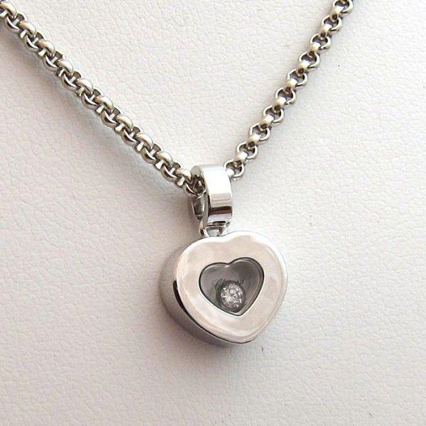 cha ne et pendentif chopard or blanc mod le happy diamonds en forme de c ur contenant un diamant. Black Bedroom Furniture Sets. Home Design Ideas