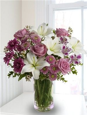purple Lily and rose bouquet | Roses and Lilies | Rose and Lily Bouquet | White Lilies and Purple ...