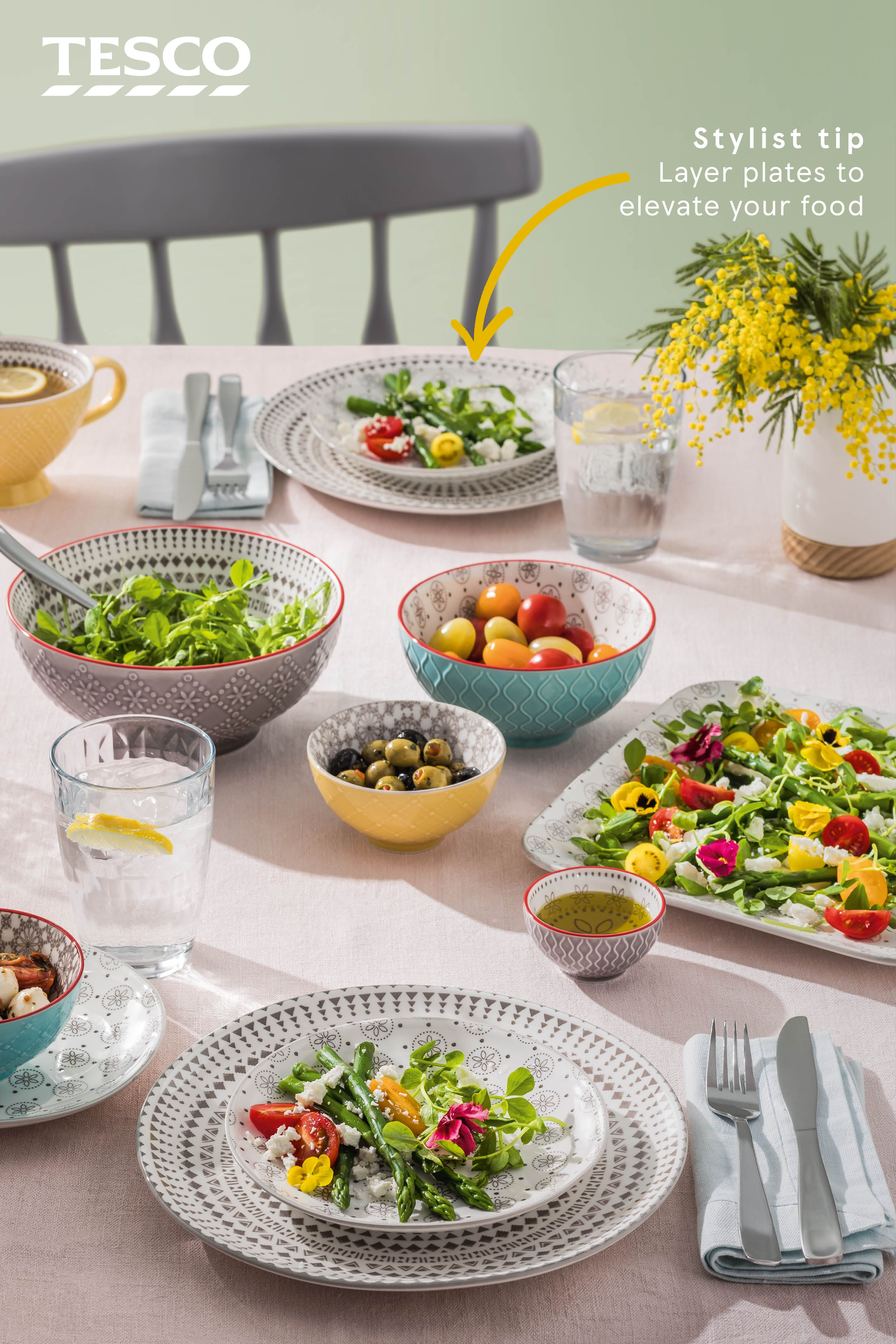 Featuring mosaic like designs and textured surfaces this modern dinnerware set will bring colour to your kitchen available in selected tesco superstores