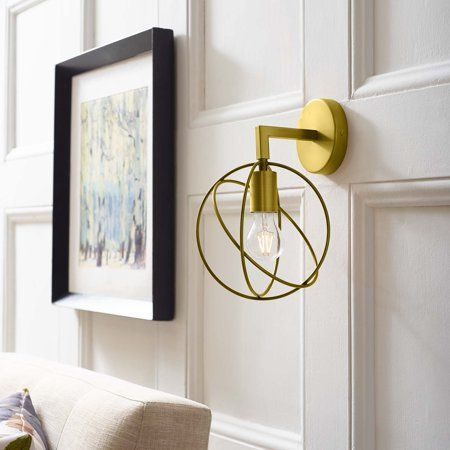 Modway Perimeter Brass Wall Sconce Light Fixture In Gold Size 5 Inchw X 13 Inchh Multicolor Sconce Lighting Modern Wall Sconces Beach House Lighting
