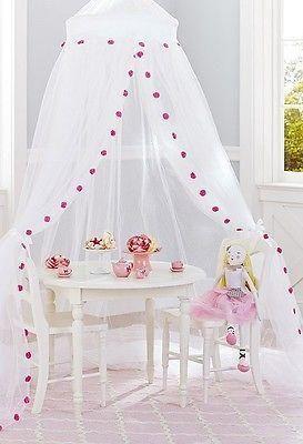 Nip Pottery Barn Kids Pom Nylon Tulle Canopy Bed Crib Tent Net
