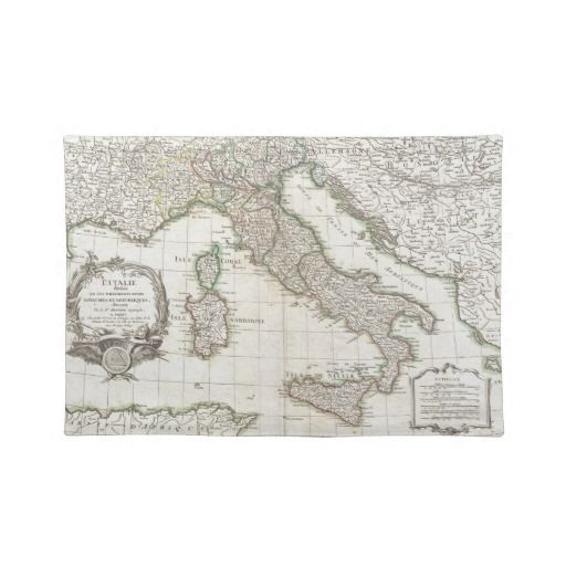 Vintage Map Of Italy 1770 Placemat Zazzle Com Global Gallery Italy Map Vintage Map