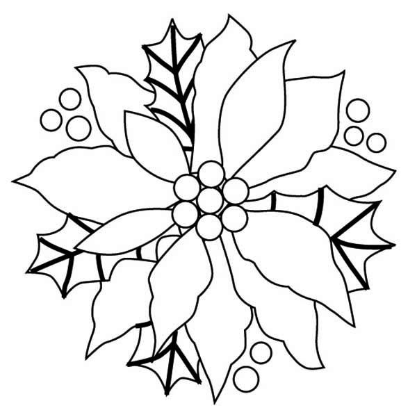 Poinsettia Flower Christmas Wreaths With Coloring Page