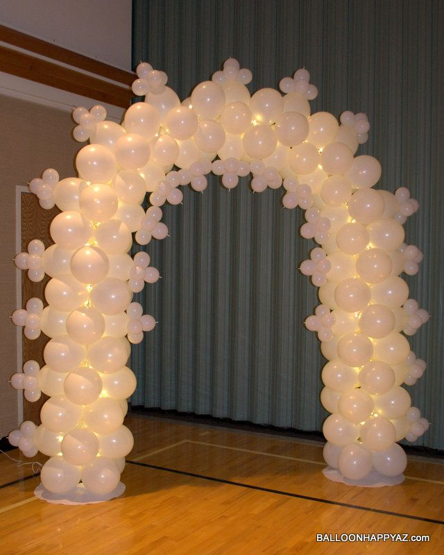 Details about 90 white metal arch 144 pc balloon wedding for Balloon arch decoration ideas