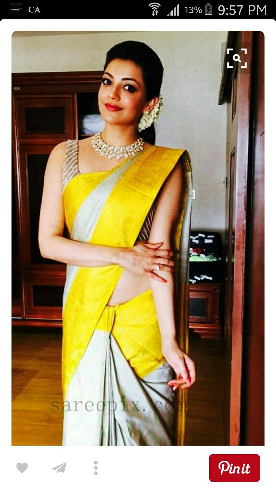 ee5bd892cab Kajal-Agarwal-silk-saree-Malabar-Golds-130th-Store-