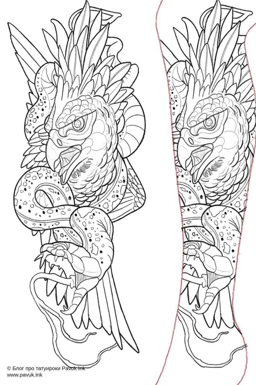 Эскиз тату змея и сокол | Блог про татуировки pavuk.ink