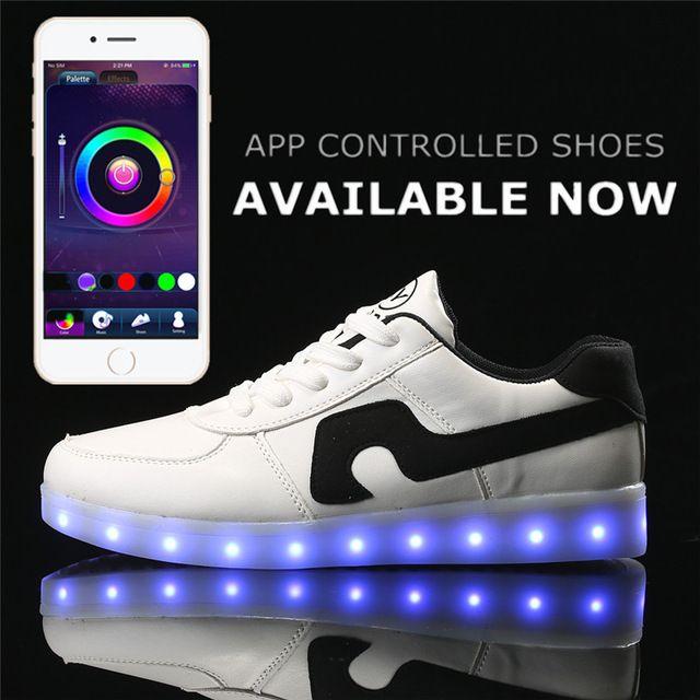 New APP control LED shoes men light up