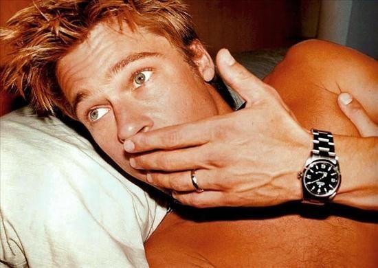 Brad Pitt wearing a Rolex Explorer I watch