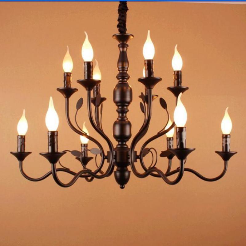 Vestibule 10 16 Pcs Black Rustic Candle Chandeliers For Dining