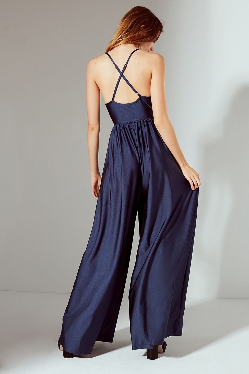 c2fcb23aeeb Urban Outfitters Uo Gia Plunging Shimmer Jumpsuit - Navy